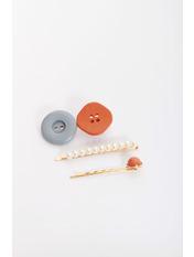 Набор заколок Хатс Разноцветный Длина 3/1/1.5(см)/ Ширина 6.2/7/5.5(см) Голубой+оранжевый