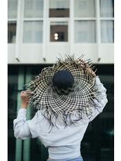 Широкополая шляпа SHL-5763 Бежевый Черный Черно-бежевый