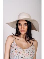 Шляпа широкополая Полин Молочный 57
