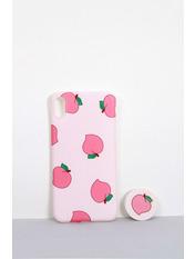 Чехол для iPhone Фрукты с попсокетом XS Max Розовый Пудровый