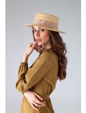 Шляпа канотье Гэйл с ленточками Бежевый Песочный 57