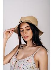 Шляпа канотье SHL-1800 Коричневый Бежевый 56-58