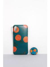 Чехол для iPhone Фрукты с попсокетом XS Max Бирюзовый