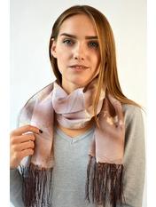 Шифоновый шарф с кистями Фиеста 120*45 Коричневый Коричневый(уп)