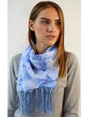 Шифоновый шарф с кистями Фиеста 120*45 Голубой Небесный