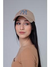 Бейсболка NewYork 55-56 Бежевый Бежево-джинсовый