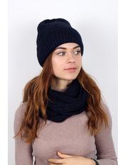 Комплект шапка и снуд Колин Шапка:one size / Снуд:Длина 38(см)/ Ширина 65(см) Синий Индиго