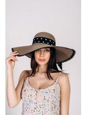 Шляпа широкополая Джанин Серый Графитовый 56
