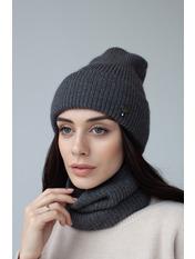 Комплект шапка и баф Гермиона Серый one size Серый