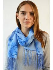 Шифоновый шарф с кистями Фиеста 120*45 Синий Синий+черный