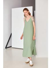 Платье PLA-STL-11472 S Зеленый Хаки