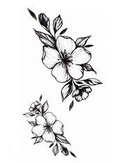 Бодиарт Графические цветы Черный Черно-белый