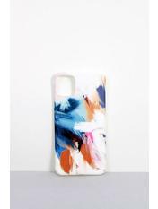 Чехол для iPhone Мазки 11 Pro Max Молочный Молочный+синий