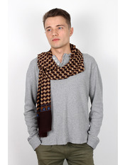 Чоловічий шарф Кастор 160*30 Коричневий Коричневий+капучиновий