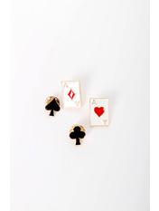 Набор брошек Кардс Черный Длина 2/1.5(см) / Ширина 1.5/1.3(см) Черный+белый