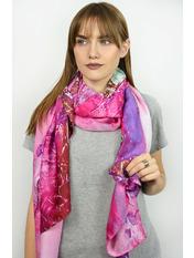 Шелковый палантин Инга 180*70 Фиолетовый Фуксия