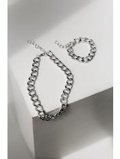 Набор цепочок + браслет Руссо Серебристый Длина цепочки - 45(см),/браслет - 25(см)/Ширина цепочки - 1.5,(см)/ браслет - 1.5(см) Серебристый