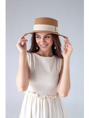 Шляпа канотье SHL-1792 Бежевый Песочный 57
