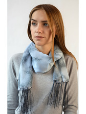 Шифоновый шарф с кистями Фиеста 120*45 Серый Серый(уп)