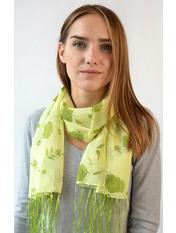 Шифоновый шарф с кистями Фиеста 120*45 Зеленый Салатовый