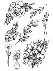 Бодиарт сет Дикая роза с веточками Черно-белый Черный