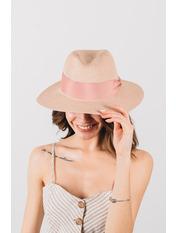 Шляпа федора Адель Розовый Пудровый 54-56