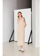 Платье PLA-STL-11472 M Коричневый Бежевый