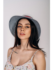 Шляпа слауч Савина Белый Белый+синий 56