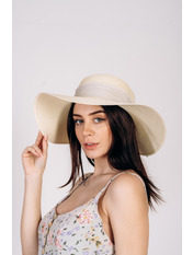 Шляпа широкополая Алиса 55-56 Молочный Молочный