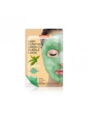 Маски для лица тканевая Purederm Deep Purifying Green O2 Bubble Зеленый чай 25 г
