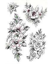 Бодиарт Три веточки Розы Черный Разные цвета