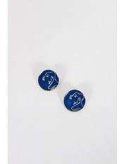 Серьги Фима Длина 2.3(см)/ Ширина 2.3(см) Синий Синий