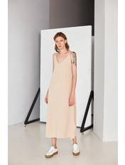 Платье PLA-STL-11472 L Коричневый Бежевый
