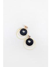 Серьги кольца SER-21025 Черный Длина 5(см)/ Ширина 4(см)