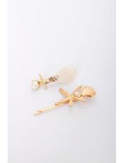 Набор заколок Коарли Золотистый+белый Длина 2-4(см)/ Ширина 6-8(см) Белый
