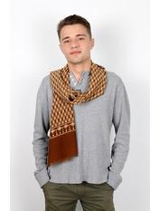 Чоловічий шарф Кастор 160*30 Коричневий Коричневий+помаранчевий