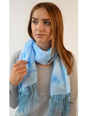Шифоновый шарф с кистями Фиеста 120*45 Голубой Светло-голубой